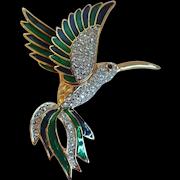 Vintage Jennifer Moore Bird Of Paradise Crystal and Enamel Pin Brooch