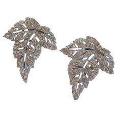Vintage ORA Pave Set Rhinestone Art Nouveau Leaf Dress Clips