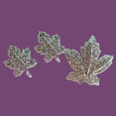 Vintage Keyes Rhinestone Maple Leaf Pin Brooch Matching Screwback Earrings