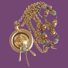 "Vintage Etruscan Style Medallion Pendant on 41"" Adorned Chain"