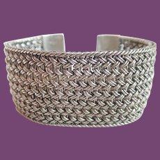 Vintage Lois Hill Sterling Classic Wide Weave Granulated Floral Toggle Bracelet