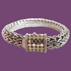 John Hardy Sterling 18K Gold Dot Wheat Chain Bracelet 62 Grams!