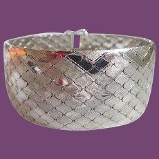 """Vintage 835 Silver 1 3/8"""" Wide 8"""" Long Snake Bracelet 87 Grams"""