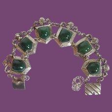 Vintage Mexico Silver Knight Shield Green Onyx Link Bracelet