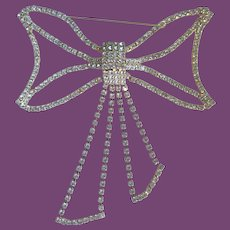 """Vintage Extra Large (5"""" by 5"""") Rhinestone Bow Pin Brooch"""