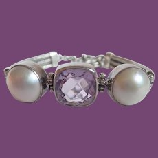 Sterling Bali Style Faceted Pink Crystal Center Flanked By Faux Mabe Pearl Toggle Bracelet