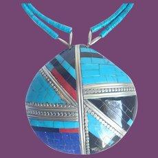 * Vintage Santo Domingo Kewa Pueblo Oversized Mosaic Inlaid Shell Pendant On Turquoise Beads Necklace