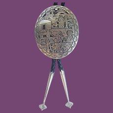 *Vintage Navajo ML Slim Sterling Overlay Story Teller Bolo or Lariat Necklace