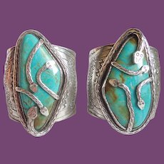*Vintage Navajo Tom Sam a.k.a. Strong John Pair Of Magnificent Sterling Turquoise Snake Cuffs