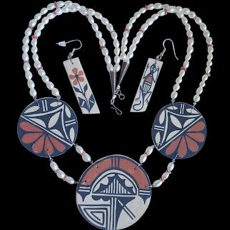 *Santo Domingo Abel & Carol Calabaza Reversible Clay Necklace And Earrings Unique!