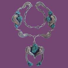 * Vintage Navajo Joe Hijoe, Jr. Sterling Seafoam Turquoise And Leaf With Naja Necklace