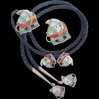 * Fantastic Vintage Zuni Nora Leekity Hereford Head Bolo - Pin - Earrings