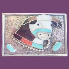 * Vintage Zuni Nora Leekity Hereford Head Channel Inlay Sterling Belt Buckle