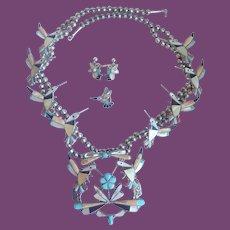 *Vintage Zuni Howard Esalio Hummingbird Necklace With Zuni Hummingbird Ring And Earrings