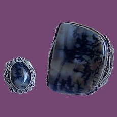 *Vintage Impressive Navajo Agate And Sterling Cuff With Matching Ring