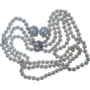 Gorgeous Set of Simulated Three Strand Pearls W/Sterling Clasp and Earrings