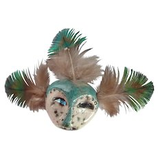 Vintage Lillian Pitt Native American Raku Fired Animal Spirit Mask Pin/Brooch