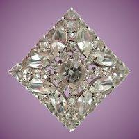 "Vintage Diamond Shaped 2"" Multi Layered Bright Prong Set Rhinestone Pin/Brooch"