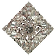 "Vintage Diamond Shaped 2"" Multi Layered Bright Prong Set Rhinestone Pin/Brooch"