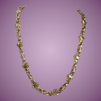 Vintage Panther Head Links Heavy Gold Tone Toggle Necklace