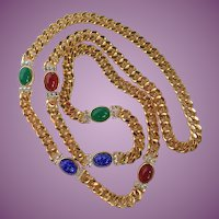 """Vintage Heavy Gold Tone Cuban Link With Colored Stones And Pave Crystals 36"""""""