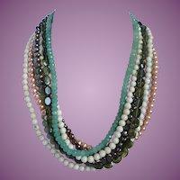 Vintage Multi Strand Pearl, Aventurine, Jasper & Glass Beads Necklace Toggle Closure