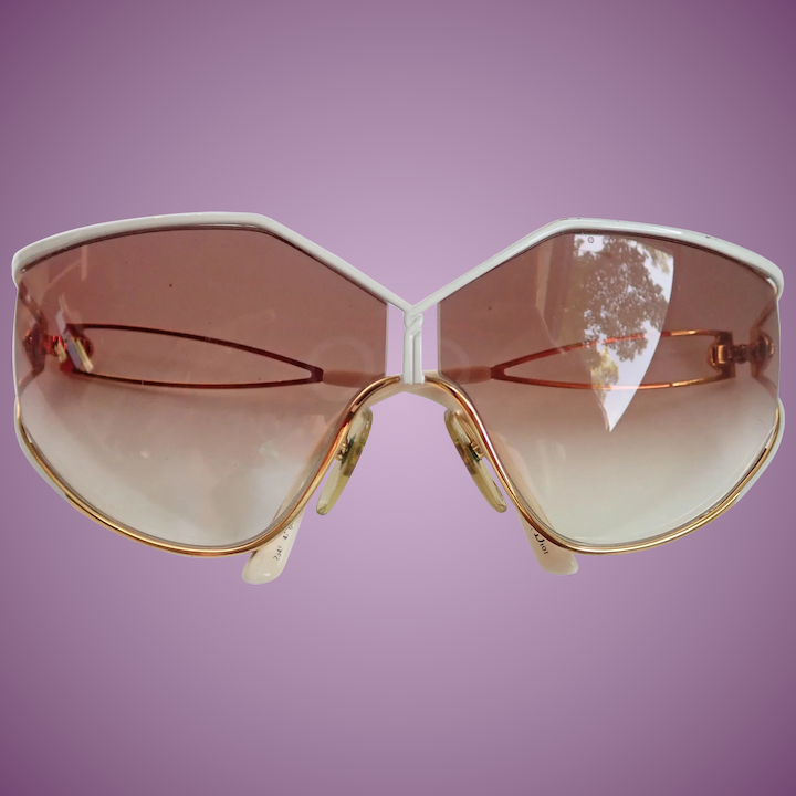97bdf83a64 Vintage Sun Glasses Christian Dior Lunettes Oversized Gold/White Frame :  Carolena's Collections | Ruby Lane