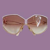 Vintage Sun Glasses Christian Dior High Style Lunettes Oversized Gold/White Frame Gradient Lens