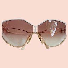 e940f75766 Vintage Sun Glasses Christian Dior Lunettes Oversized Gold White Frame Gradient  Lens