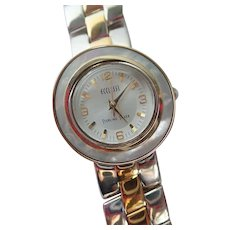 Vintage Ecclissi Watch Sterling Case Mother Of Pearl Face Two Tone Bracelet Band Original Box