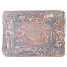 Vintage Arizona Souvenir Copper Trinket Tray - Coins, Candy, Rings or Decor