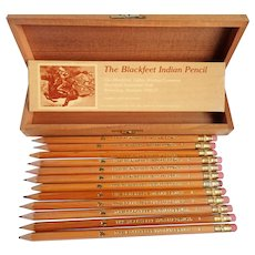 Vintage Blackfeet Indian Writing Co. 12 Pencils in Original  Cedar Wooden Box