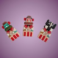 Vintage Hopi Flat Doll Magnets Set Of Three