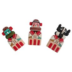 Vintage Hopi Flat Doll Magnets Set Of Three