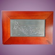 Vintage Roxana Leask Native Artwork Salmon & Eagle Pewter Humpback Whale Box