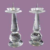 "Vintage Pair Candlesticks Swarovski Silver Crystal Retired Pin 4"" Original Boxes"