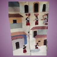 """Vintage Mexican Rug or Wall Hanging Village Life 34"""" by 60"""""""