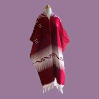 Vintage Mexican Southwestern Finely Woven Poncho/Blanket Vivid Burgundy & White 38 X 39