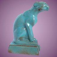 "Vintage Nicodemus Red Clay Pottery Ferro Stone 4"" Sitting Cat EJ Ellen Jennings"