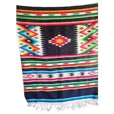 "Vintage Large Mexican Saltillo Serape Eye Dazzler Blanket Rug Brilliant Rich Colors 55"" by 86"""