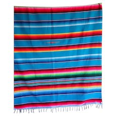 """Vintage Mexican Serape Zapotec Blanket Runner Rug Coverup Vivid Colors 62"""" W by 78"""" L"""