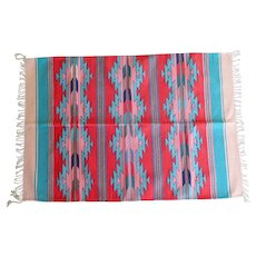 """Vintage Large Mexican Saltillo Serape Rug Wall Hanging Unique Southwestern Colors 47"""" by 66"""""""