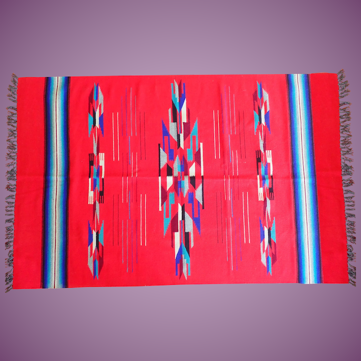 Vintage Chimayo Weaving New Mexico Woven Rug Wallhanging Blanket Vibrant Colors 44 X 70