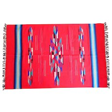 """Vintage Chimayo Weaving New Mexico Woven Rug Wallhanging Blanket Vibrant Colors 44"""" x 70"""