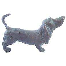 Vintage Bronze Dachshund Doxi Wiener Dog Figurine Sweet!