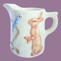 Vintage Weller Pottery, Juvenile Line Creamer Pitcher Bunny & Bluebird