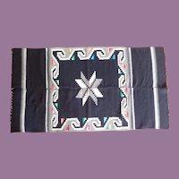 """Vintage Mexican Saltillo Serape Blanket Rug Brilliant Rich Colors 38"""" by 70"""""""""""
