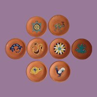 Vintage Desert House Of Crafts Set Of Eight Pottery Southwestern Coasters