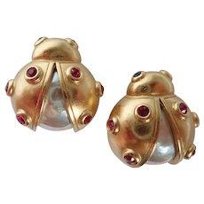 Vintage Lady Bug Scatter Pins/Brooch Carolee Matching Pair!