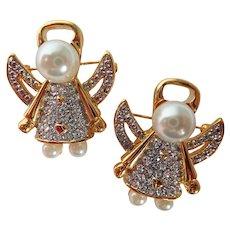 Vintage Angel Pair Crystal Laden & Faux Pearl Scatter Pins/Brooch